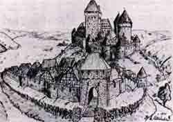 Historische Ansicht der Burg